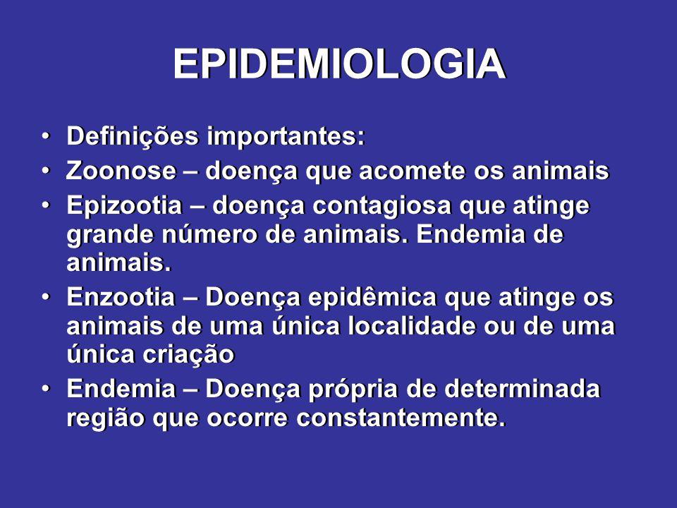 EPIDEMIOLOGIA Definições importantes: Zoonose – doença que acomete os animais Epizootia – doença contagiosa que atinge grande número de animais. Endem