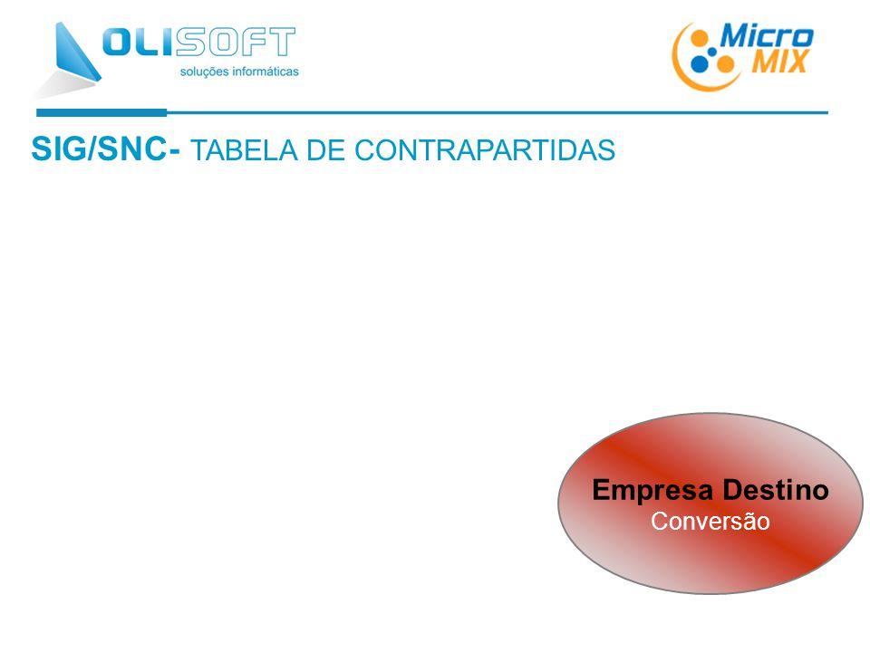 SIG/SNC- TABELA DE CONTRAPARTIDAS Empresa Destino Conversão