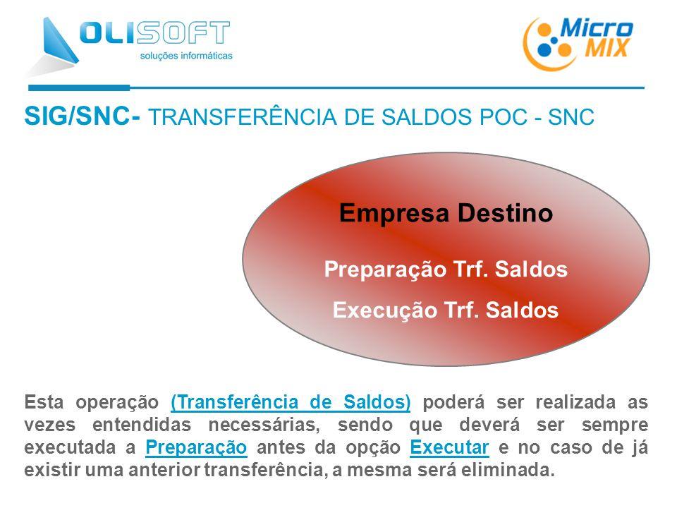 SIG/SNC- TRANSFERÊNCIA DE SALDOS POC - SNC Esta operação (Transferência de Saldos) poderá ser realizada as vezes entendidas necessárias, sendo que deverá ser sempre executada a Preparação antes da opção Executar e no caso de já existir uma anterior transferência, a mesma será eliminada.