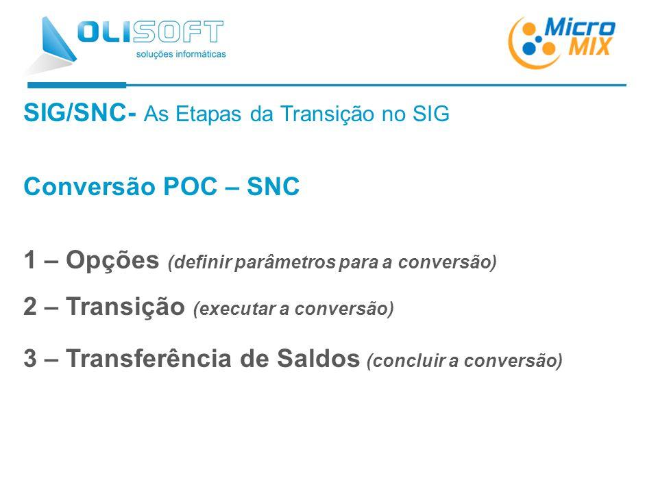 SIG/SNC- As Etapas da Transição no SIG Conversão POC – SNC 1 – Opções (definir parâmetros para a conversão) 2 – Transição (executar a conversão) 3 – Transferência de Saldos (concluir a conversão)