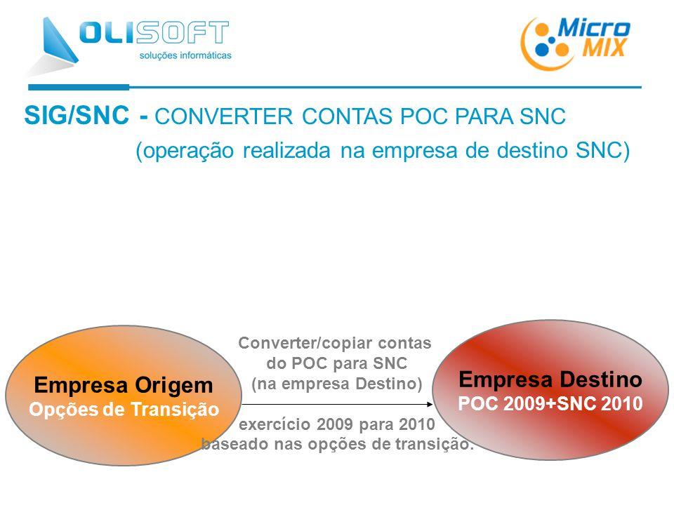 SIG/SNC - CONVERTER CONTAS POC PARA SNC (operação realizada na empresa de destino SNC) Empresa Origem Opções de Transição Empresa Destino POC 2009+SNC 2010 Converter/copiar contas do POC para SNC (na empresa Destino) exercício 2009 para 2010 baseado nas opções de transição.