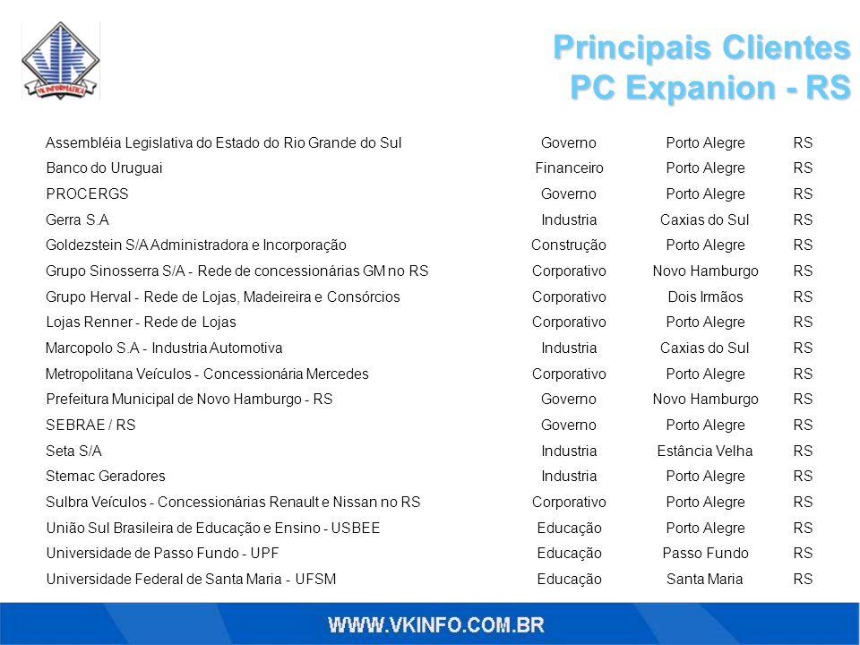 Principais Clientes PC Expanion - RS RSSanta MariaEducaçãoUniversidade Federal de Santa Maria - UFSM RSPasso FundoEducaçãoUniversidade de Passo Fundo