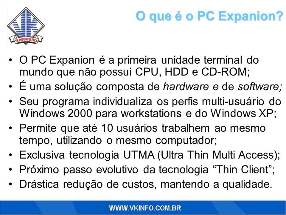 O que é o PC Expanion? O PC Expanion é a primeira unidade terminal do mundo que não possui CPU, HDD e CD-ROM; É uma solução composta de hardware e de