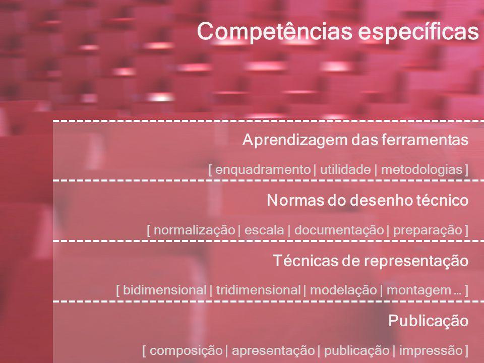 Competências específicas Aprendizagem das ferramentas [ enquadramento | utilidade | metodologias ] Normas do desenho técnico [ normalização | escala | documentação | preparação ] Técnicas de representação [ bidimensional | tridimensional | modelação | montagem … ] Publicação [ composição | apresentação | publicação | impressão ]