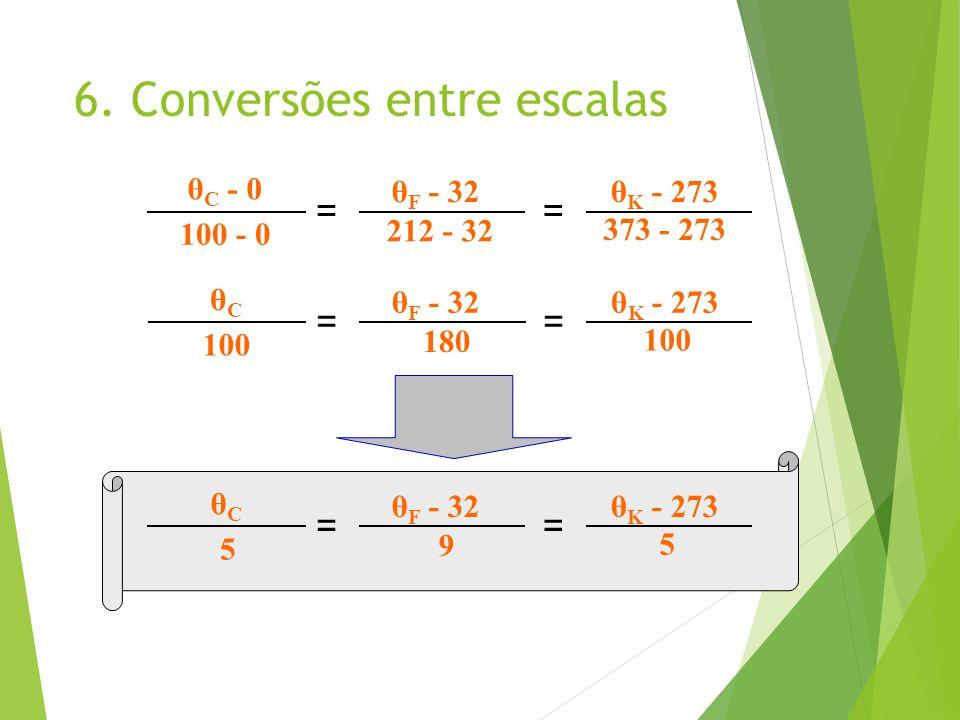 6. Conversões entre escalas θ C - 0 == θ F - 32θ K - 273 100 - 0 212 - 32 373 - 273 θCθC == θ F - 32θ K - 273 100 180 100 θCθC == θ F - 32θ K - 273 5