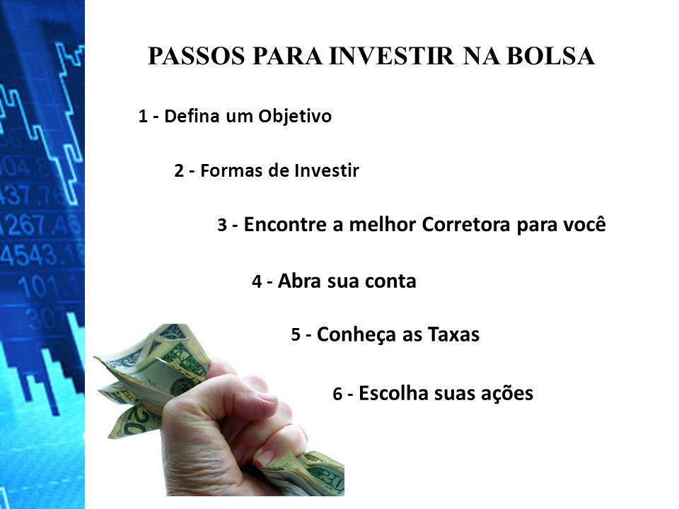PASSOS PARA INVESTIR NA BOLSA 1 - Defina um Objetivo 2 - Formas de Investir 3 - Encontre a melhor Corretora para você 4 - Abra sua conta 5 - Conheça a