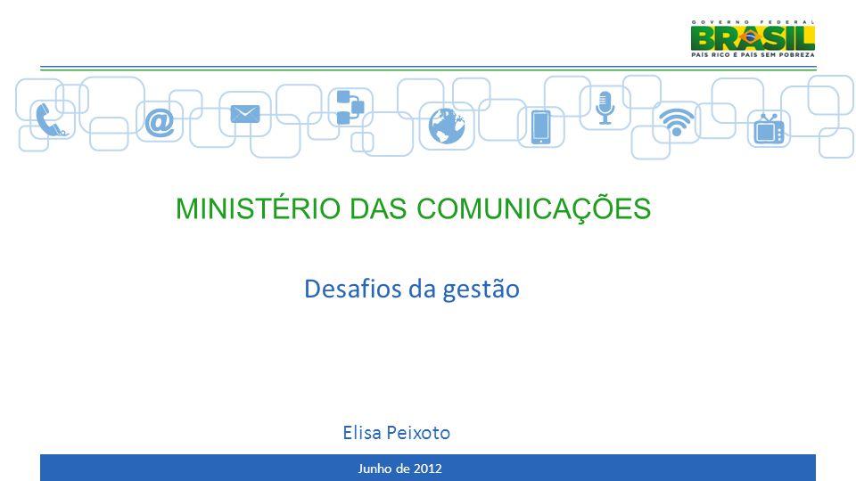 AGENDA Ministério das Comunicações Planejamento estratégico Histórico e estrutura do Ministério Desafios de gestão Ações realizadas 2