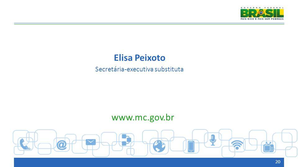 20 Elisa Peixoto Secretária-executiva substituta www.mc.gov.br