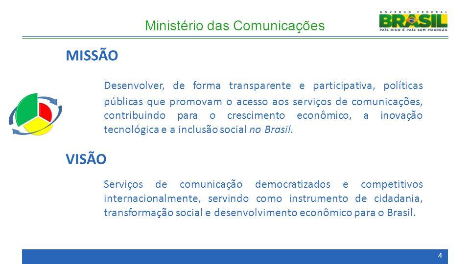 MISSÃO Desenvolver, de forma transparente e participativa, políticas públicas que promovam o acesso aos serviços de comunicações, contribuindo para o