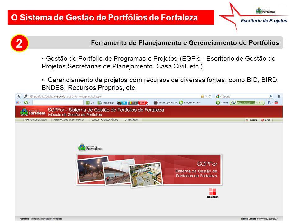 O Sistema de Gestão de Portfólios de Fortaleza Ferramenta de Planejamento e Gerenciamento de Portfólios 2 Gestão de Portfolio de Programas e Projetos