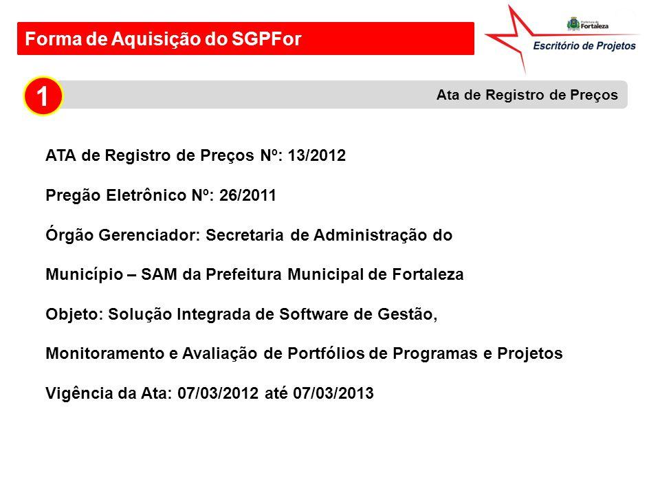 Forma de Aquisição do SGPFor ATA de Registro de Preços Nº: 13/2012 Pregão Eletrônico Nº: 26/2011 Órgão Gerenciador: Secretaria de Administração do Mun
