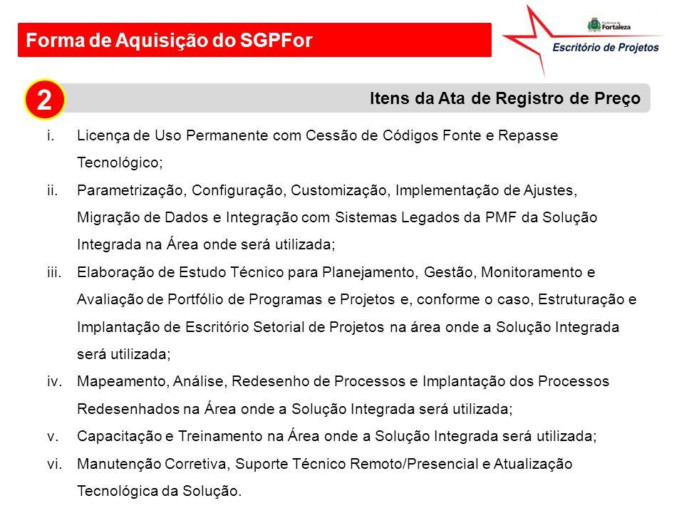 Forma de Aquisição do SGPFor i.Licença de Uso Permanente com Cessão de Códigos Fonte e Repasse Tecnológico; ii.Parametrização, Configuração, Customiza