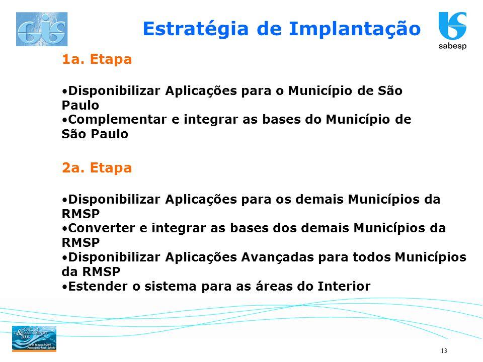 13 1a. Etapa Disponibilizar Aplicações para o Município de São Paulo Complementar e integrar as bases do Município de São Paulo 2a. Etapa Disponibiliz