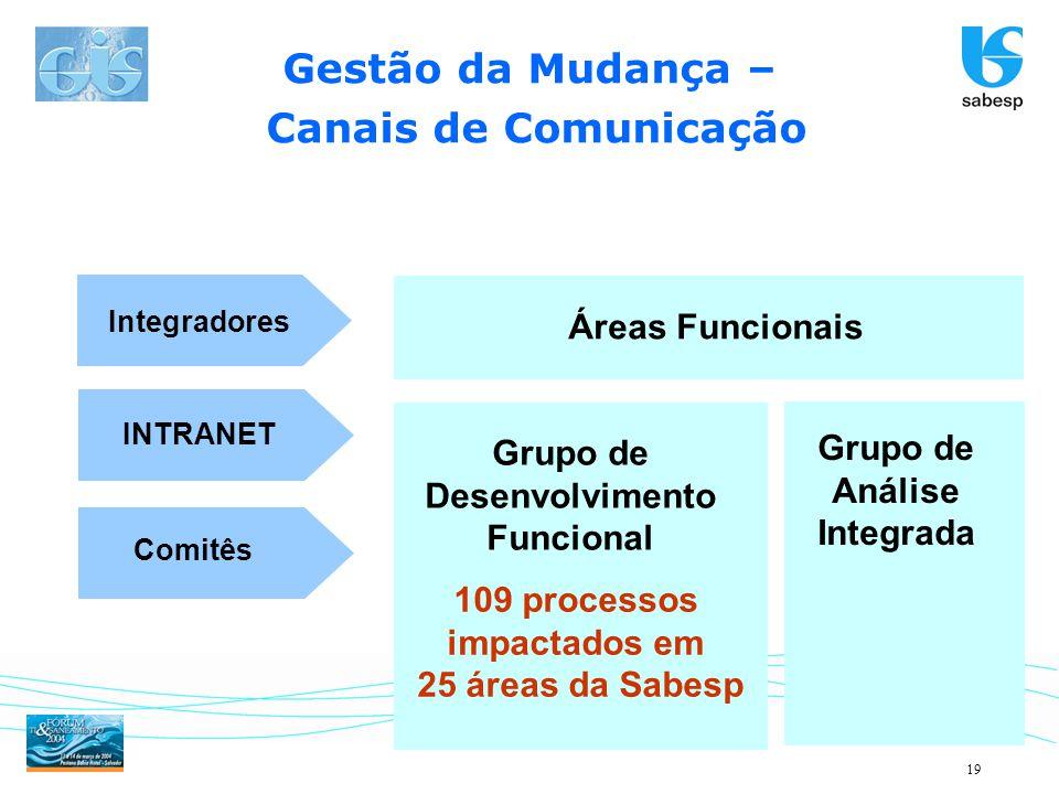 19 Gestão da Mudança – Canais de Comunicação Comitês Integradores INTRANET Grupo de Desenvolvimento Funcional Grupo de Análise Integrada Áreas Funcion