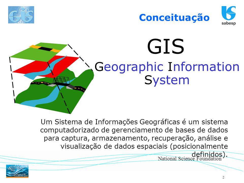 2 GIS Um Sistema de Informações Geográficas é um sistema computadorizado de gerenciamento de bases de dados para captura, armazenamento, recuperação,