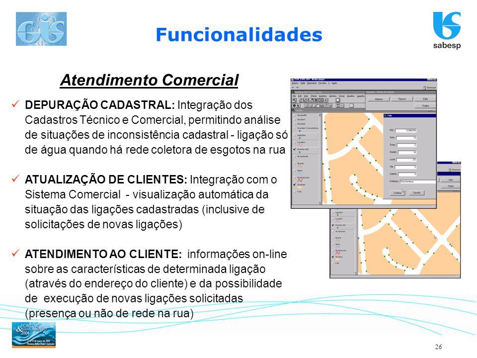 26 DEPURAÇÃO CADASTRAL: Integração dos Cadastros Técnico e Comercial, permitindo análise de situações de inconsistência cadastral - ligação só de água