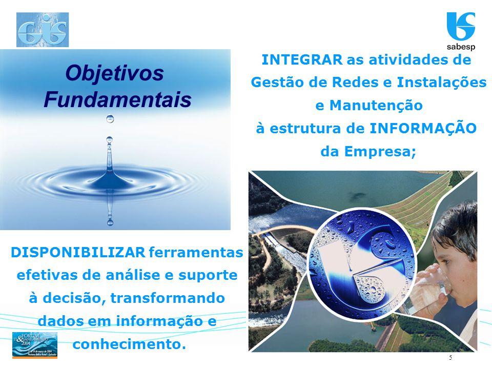 5 Objetivos Fundamentais INTEGRAR as atividades de Gestão de Redes e Instalações e Manutenção à estrutura de INFORMAÇÃO da Empresa; DISPONIBILIZAR fer