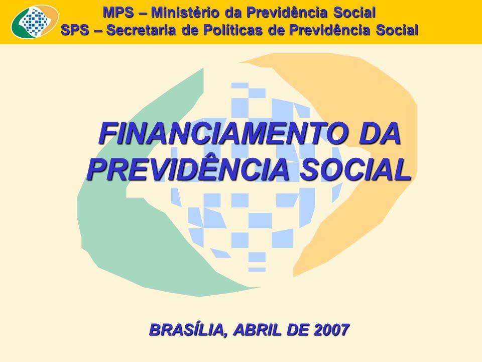 MPS – Ministério da Previdência Social SPS – Secretaria de Políticas de Previdência Social FINANCIAMENTO DA PREVIDÊNCIA SOCIAL BRASÍLIA, ABRIL DE 2007