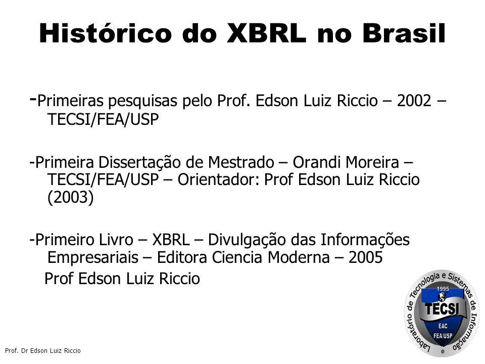 Prof.Dr Edson Luiz Riccio Histórico do XBRL no Brasil - Primeiras pesquisas pelo Prof.