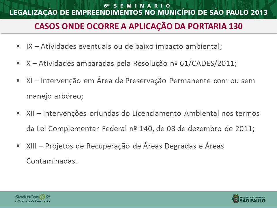 IX – Atividades eventuais ou de baixo impacto ambiental; X – Atividades amparadas pela Resolução nº 61/CADES/2011; XI – Intervenção em Área de Preserv