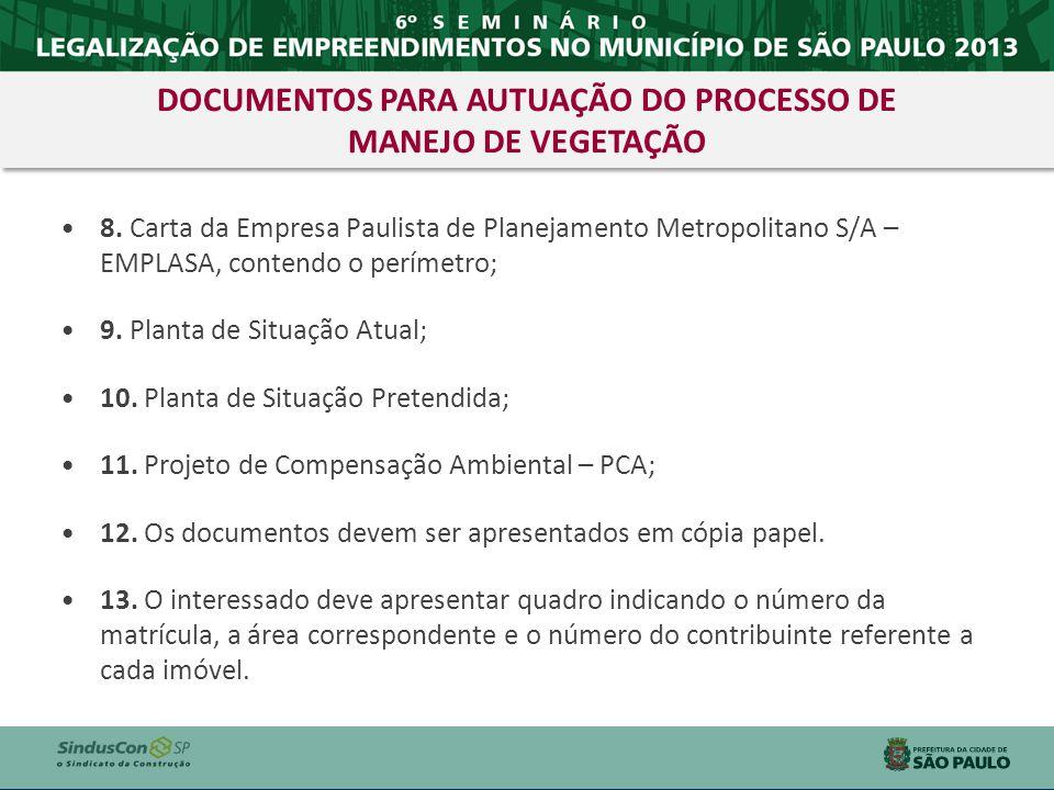 8. Carta da Empresa Paulista de Planejamento Metropolitano S/A – EMPLASA, contendo o perímetro; 9. Planta de Situação Atual; 10. Planta de Situação Pr