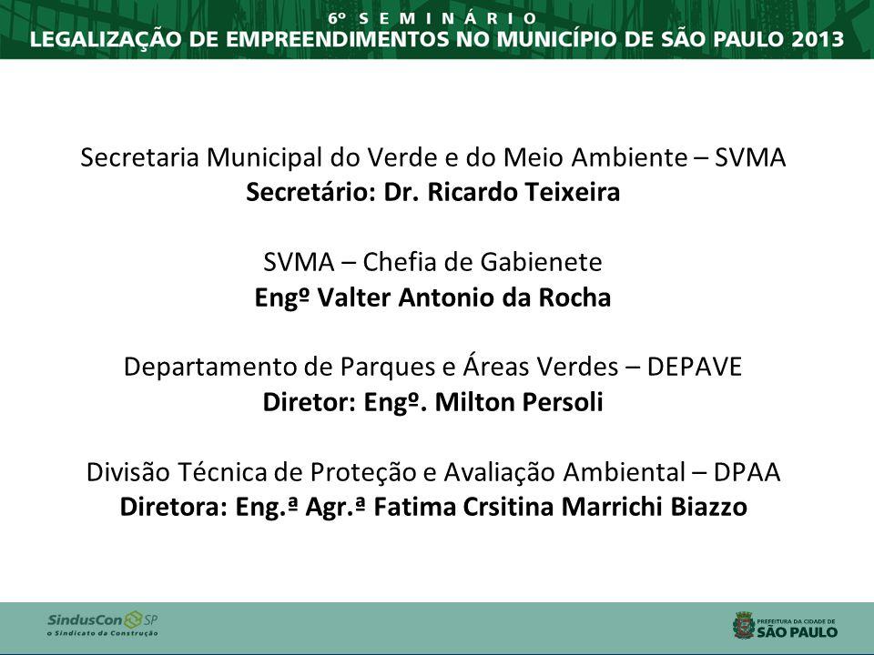 Secretaria Municipal do Verde e do Meio Ambiente – SVMA Secretário: Dr. Ricardo Teixeira SVMA – Chefia de Gabienete Engº Valter Antonio da Rocha Depar