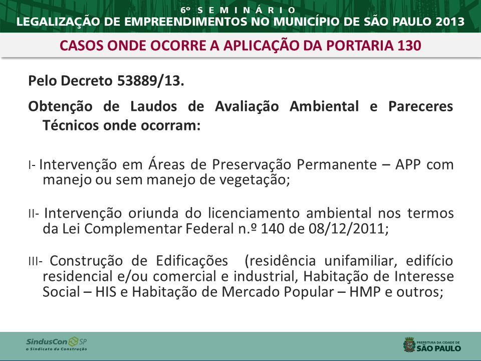 Pelo Decreto 53889/13. Obtenção de Laudos de Avaliação Ambiental e Pareceres Técnicos onde ocorram: I- Intervenção em Áreas de Preservação Permanente
