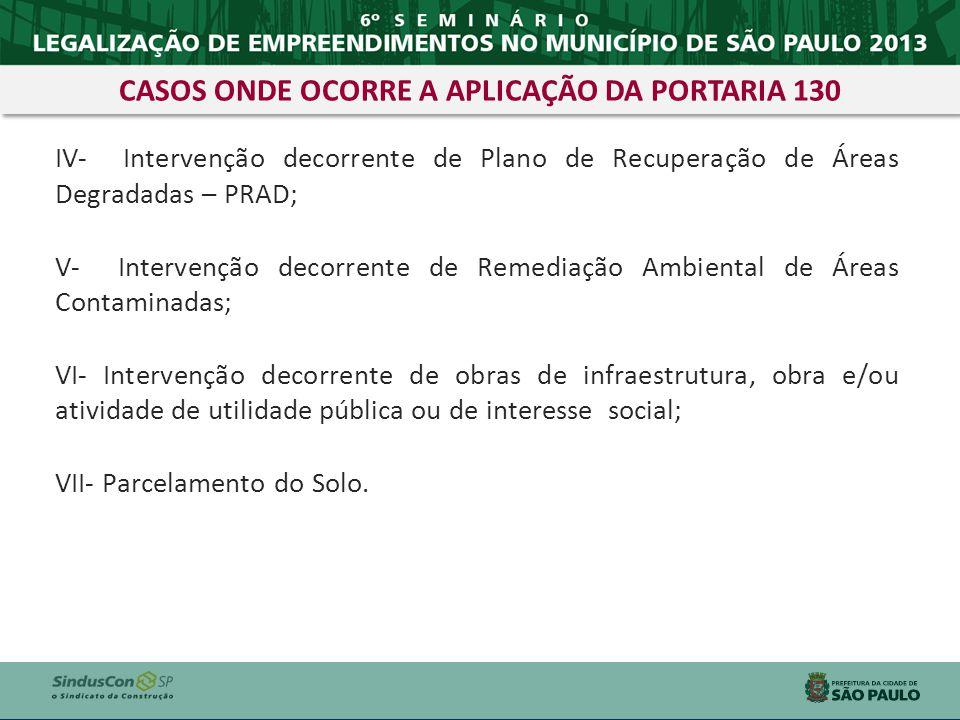 IV- Intervenção decorrente de Plano de Recuperação de Áreas Degradadas – PRAD; V- Intervenção decorrente de Remediação Ambiental de Áreas Contaminadas
