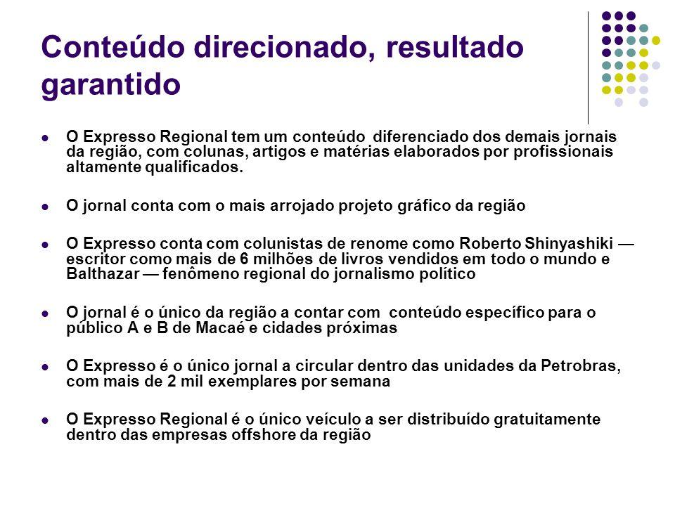 Conteúdo direcionado, resultado garantido O Expresso Regional tem um conteúdo diferenciado dos demais jornais da região, com colunas, artigos e matéri