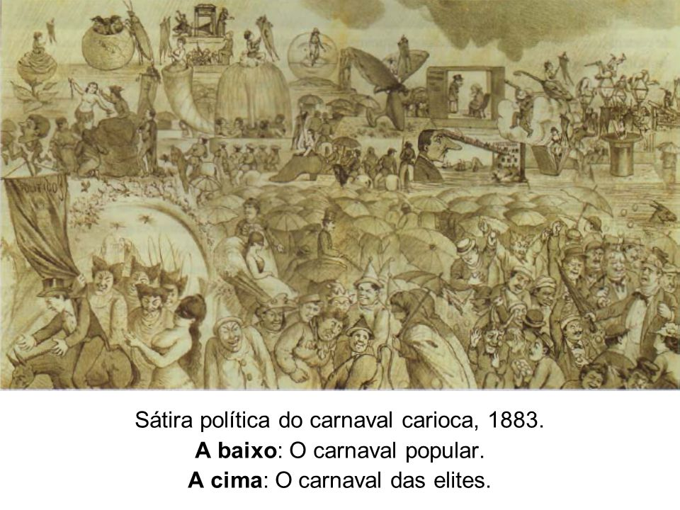 Sátira política do carnaval carioca, 1883. A baixo: O carnaval popular. A cima: O carnaval das elites.