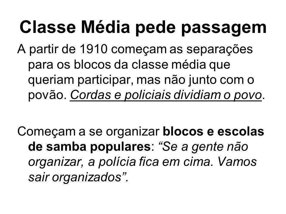 Classe Média pede passagem A partir de 1910 começam as separações para os blocos da classe média que queriam participar, mas não junto com o povão. Co