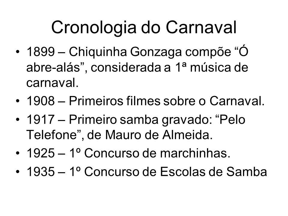 """Cronologia do Carnaval 1899 – Chiquinha Gonzaga compõe """"Ó abre-alás"""", considerada a 1ª música de carnaval. 1908 – Primeiros filmes sobre o Carnaval. 1"""