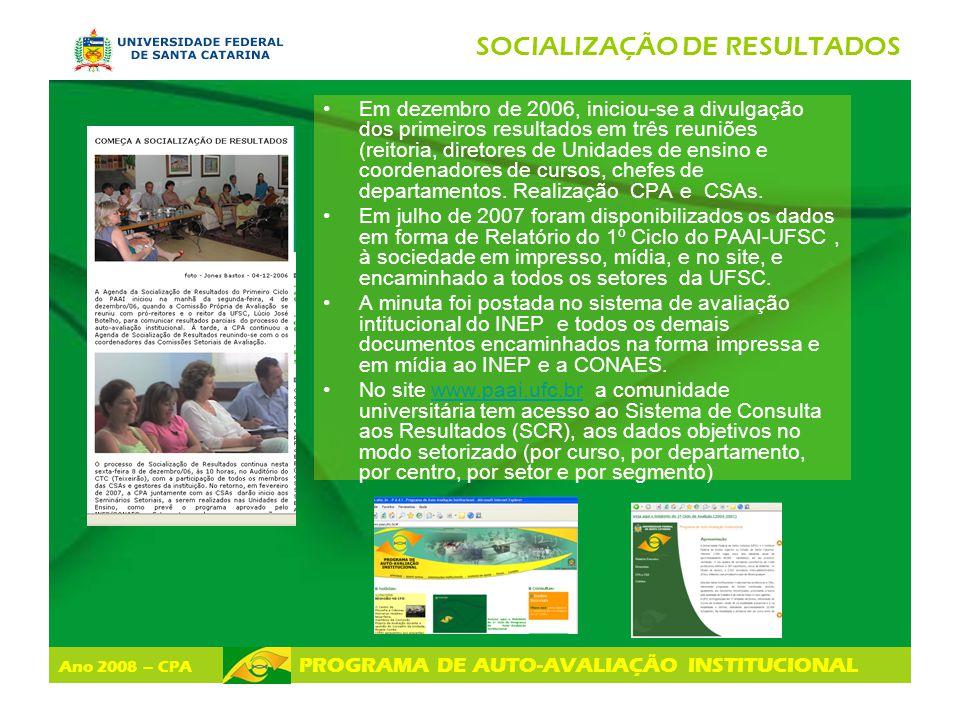 Ano 2008 – CPA PROGRAMA DE AUTO-AVALIAÇÃO INSTITUCIONAL SOCIALIZAÇÃO DE RESULTADOS Em dezembro de 2006, iniciou-se a divulgação dos primeiros resultad