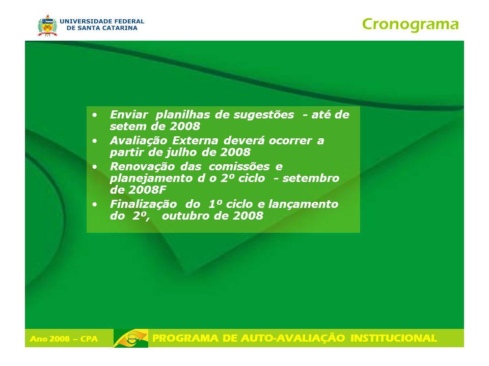Ano 2008 – CPA PROGRAMA DE AUTO-AVALIAÇÃO INSTITUCIONAL Cronograma Enviar planilhas de sugestões - até de setem de 2008 Avaliação Externa deverá ocorr
