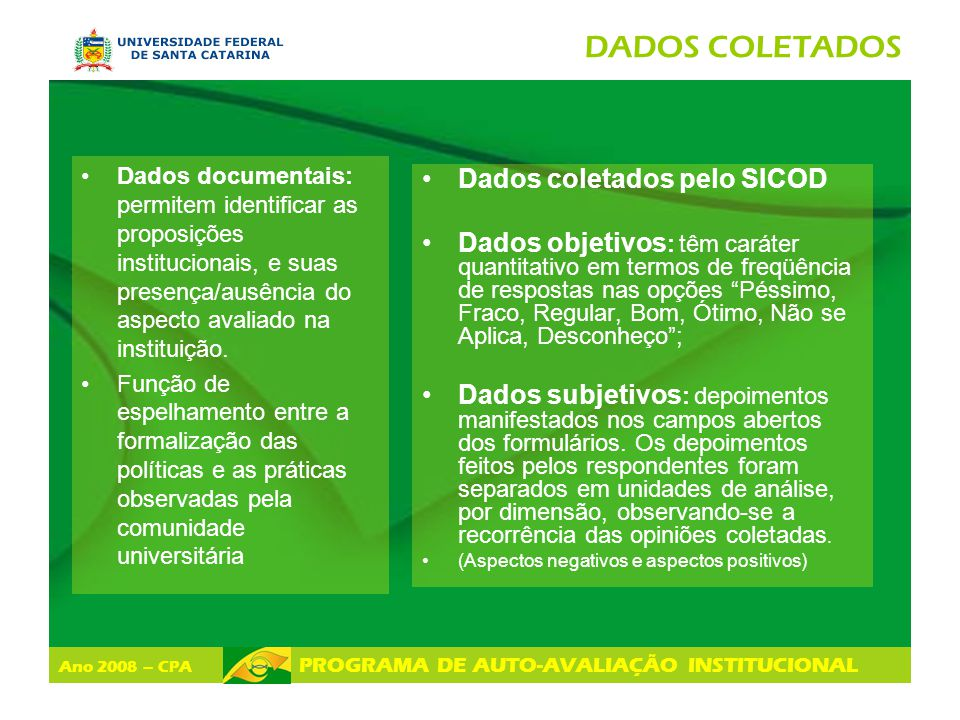 Ano 2008 – CPA PROGRAMA DE AUTO-AVALIAÇÃO INSTITUCIONAL LEVANTAMENTO DE RECOMENDAÇÕES PARA SUPERAR R AS FRAGILIDADES EM NÍVEL SETORIAL AÇÕES DIMENSÕES ÂMBITO INSTITUCIONAL (UFSC) ÂMBITO DA UNIDADE (Centro de Ensino) ÂMBITO DA SUBUNIDADE (Depto, curso, setor) 1.