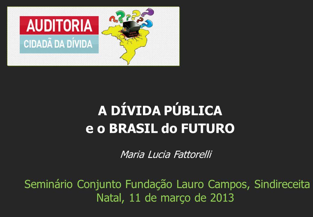Maria Lucia Fattorelli Seminário Conjunto Fundação Lauro Campos, Sindireceita Natal, 11 de março de 2013 A DÍVIDA PÚBLICA e o BRASIL do FUTURO
