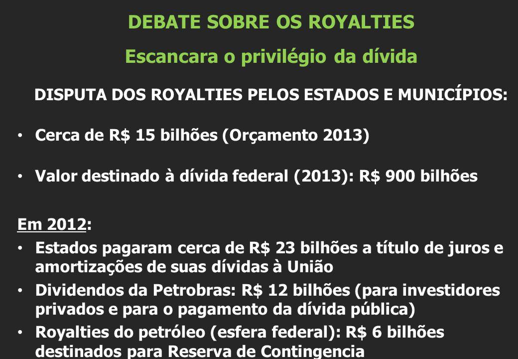 DEBATE SOBRE OS ROYALTIES Escancara o privilégio da dívida DISPUTA DOS ROYALTIES PELOS ESTADOS E MUNICÍPIOS: Cerca de R$ 15 bilhões (Orçamento 2013) Valor destinado à dívida federal (2013): R$ 900 bilhões Em 2012: Estados pagaram cerca de R$ 23 bilhões a título de juros e amortizações de suas dívidas à União Dividendos da Petrobras: R$ 12 bilhões (para investidores privados e para o pagamento da dívida pública) Royalties do petróleo (esfera federal): R$ 6 bilhões destinados para Reserva de Contingencia