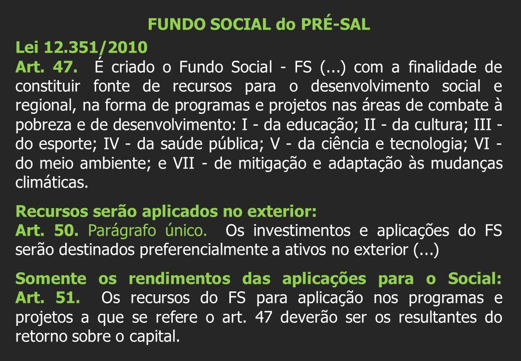 FUNDO SOCIAL do PRÉ-SAL Lei 12.351/2010 Art. 47.