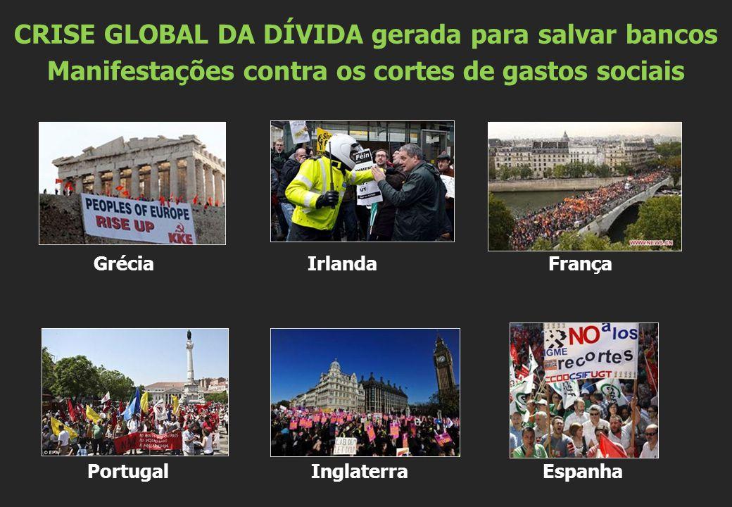 Grécia Irlanda França Portugal Inglaterra Espanha CRISE GLOBAL DA DÍVIDA gerada para salvar bancos Manifestações contra os cortes de gastos sociais