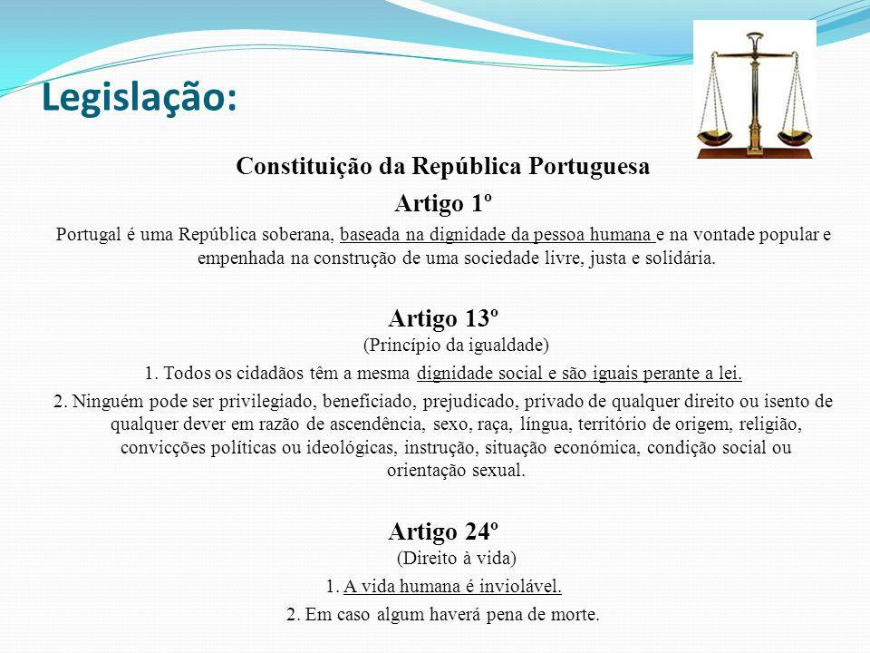 Legislação: Constituição da República Portuguesa Artigo 1º Portugal é uma República soberana, baseada na dignidade da pessoa humana e na vontade popular e empenhada na construção de uma sociedade livre, justa e solidária.
