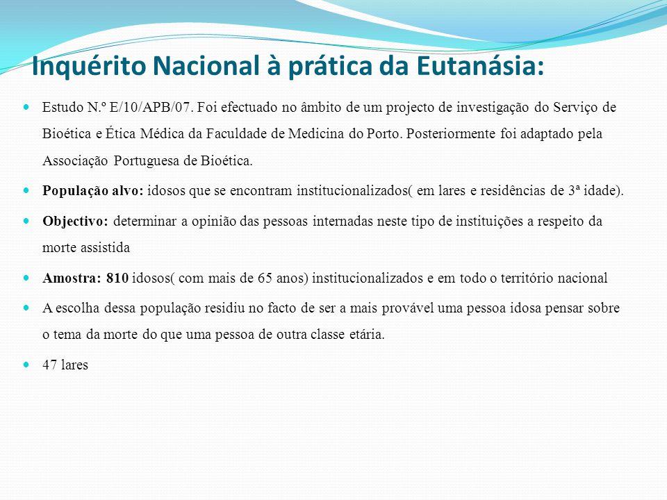 Inquérito Nacional à prática da Eutanásia: Estudo N.º E/10/APB/07.