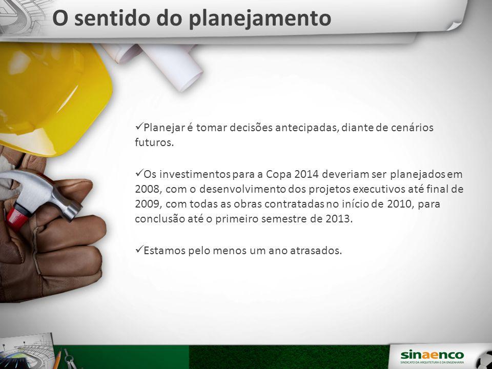 Planejar é tomar decisões antecipadas, diante de cenários futuros. Os investimentos para a Copa 2014 deveriam ser planejados em 2008, com o desenvolvi