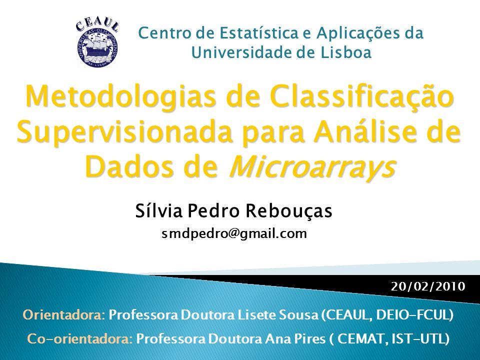 Metodologias de Classificação Supervisionada para Análise de Dados de Microarrays Orientadora: Professora Doutora Lisete Sousa (CEAUL, DEIO-FCUL) Co-o
