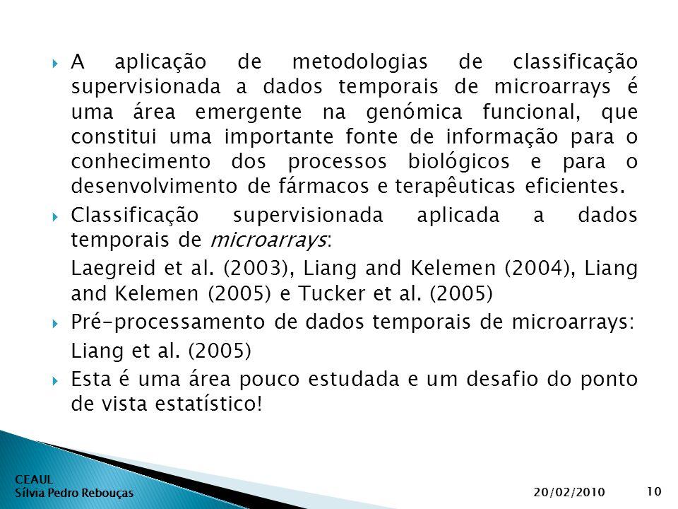  A aplicação de metodologias de classificação supervisionada a dados temporais de microarrays é uma área emergente na genómica funcional, que constit