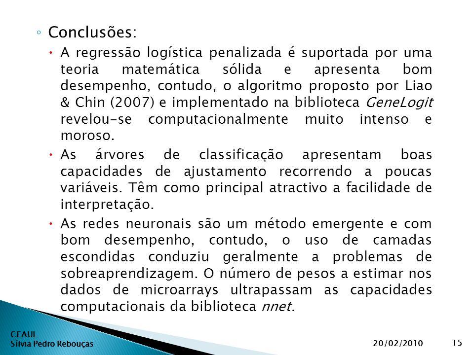 CEAUL Sílvia Pedro Rebouças 20/02/2010 15 ◦ Conclusões:  A regressão logística penalizada é suportada por uma teoria matemática sólida e apresenta bo