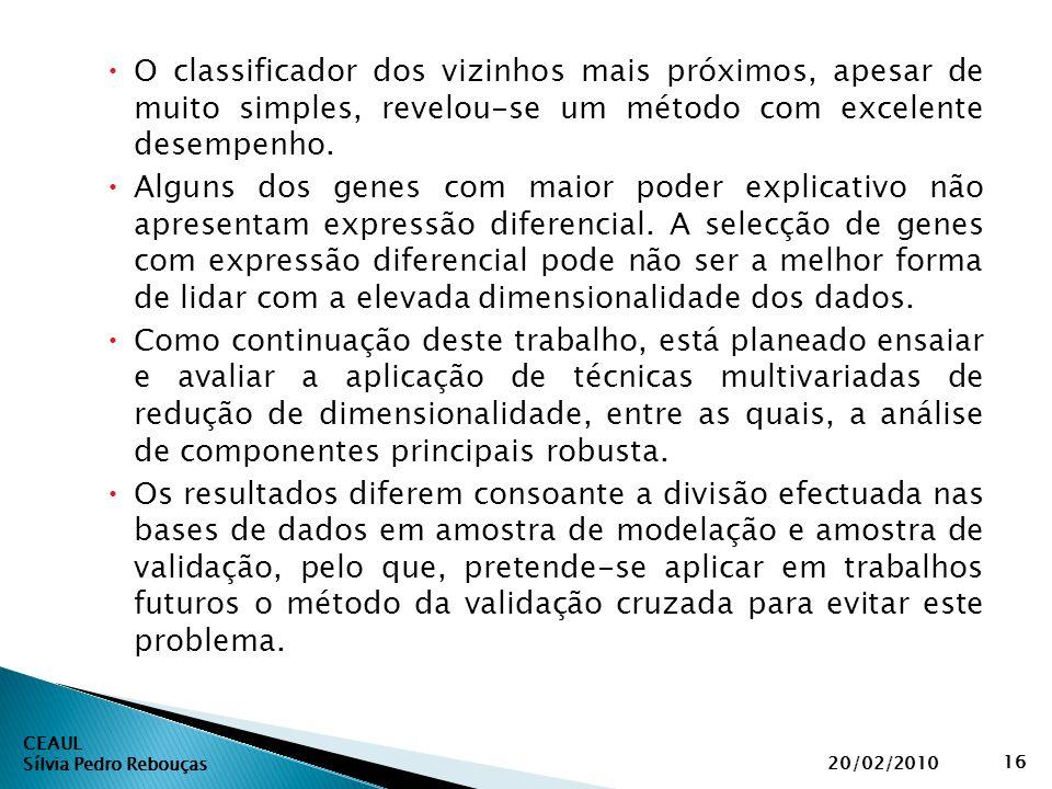 CEAUL Sílvia Pedro Rebouças 20/02/2010 16  O classificador dos vizinhos mais próximos, apesar de muito simples, revelou-se um método com excelente de