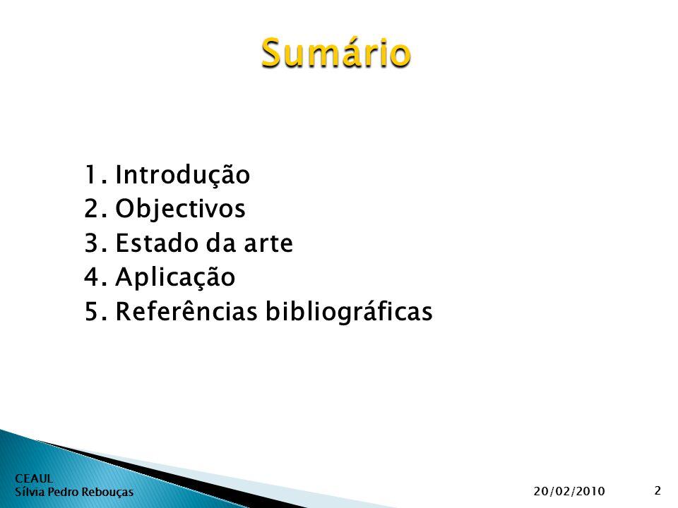 1. Introdução 2. Objectivos 3. Estado da arte 4. Aplicação 5. Referências bibliográficas CEAUL Sílvia Pedro Rebouças Sumário 20/02/2010 2