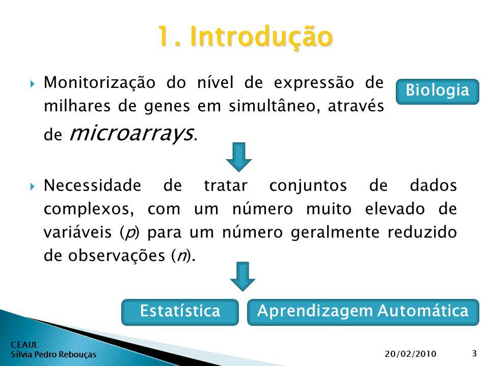  Monitorização do nível de expressão de milhares de genes em simultâneo, através de microarrays. CEAUL Sílvia Pedro Rebouças 1. Introdução 20/02/2010