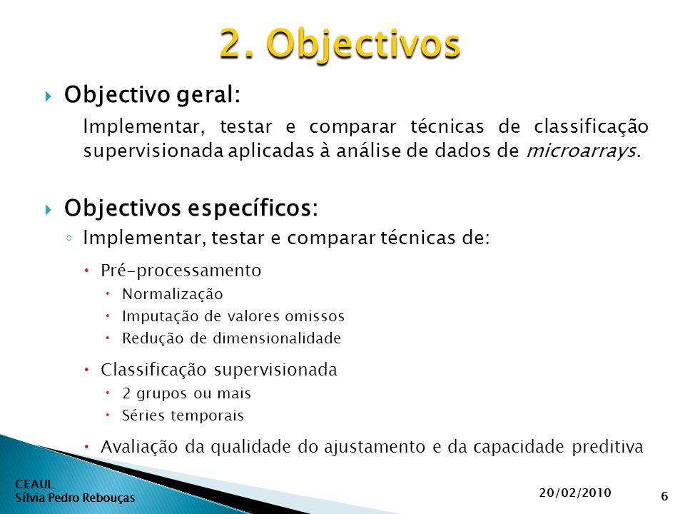 CEAUL Sílvia Pedro Rebouças 2. Objectivos 20/02/2010 6  Objectivo geral: Implementar, testar e comparar técnicas de classificação supervisionada apli