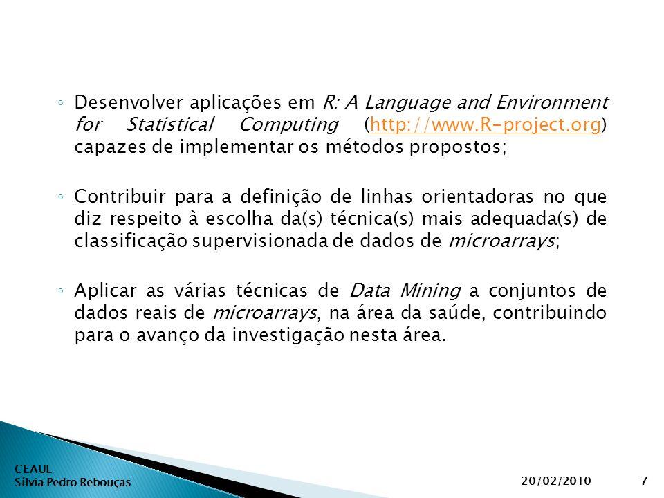 CEAUL Sílvia Pedro Rebouças 20/02/20107 ◦ Desenvolver aplicações em R: A Language and Environment for Statistical Computing (http://www.R-project.org)